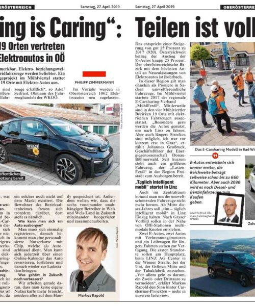 "Interview in der Krone: ""E-Carsharing is Caring."""